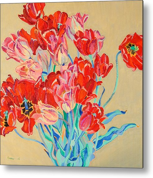Flowers Metal Print featuring the painting Red Tulips With Gold Background by Vitali Komarov
