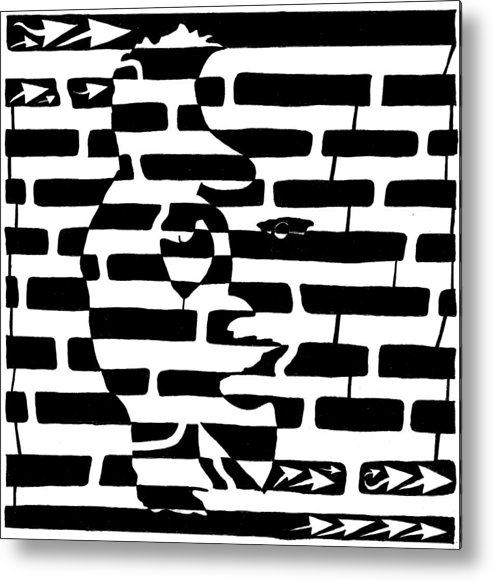 Saxophone Metal Print featuring the drawing Saxophone Player Or Woman Maze by Yonatan Frimer Maze Artist