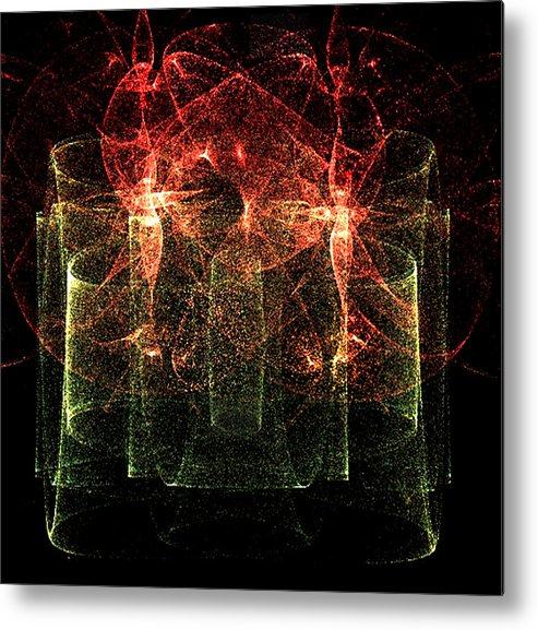 Fractal-flame Metal Print featuring the digital art Spirits In My Drinks by Rebecca Phillips