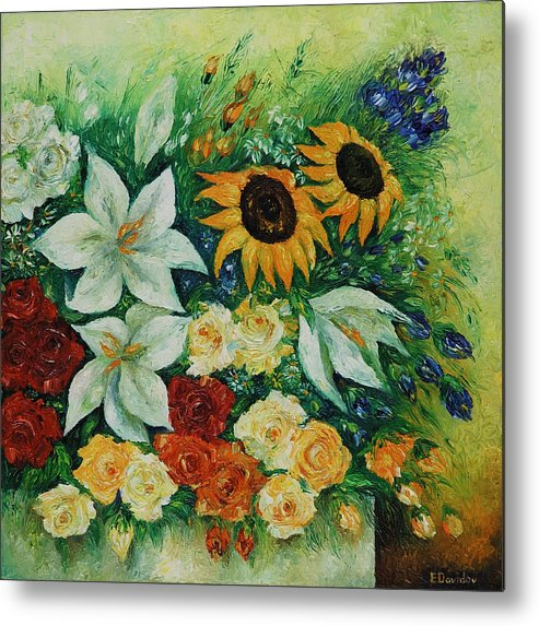 Flowers Metal Print featuring the painting Summer Bouquet - Right Part Of Diptych. by Evgenia Davidov