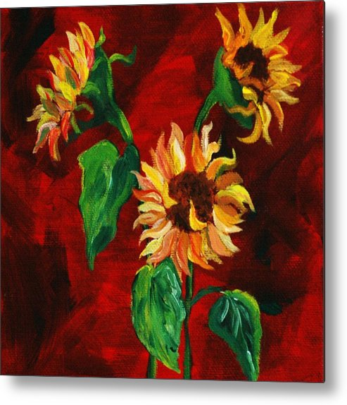 Flowers Metal Print featuring the painting Sunflowers On Rojo by Melinda Etzold