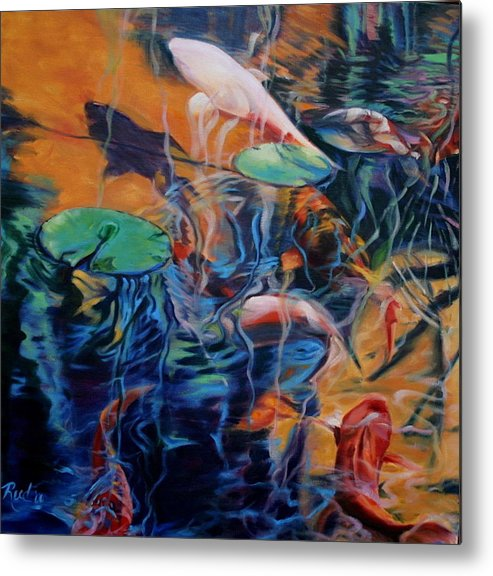Koi. Water Metal Print featuring the painting Water Garden Series B by Patricia Reed