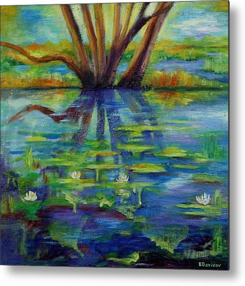 Water Metal Print featuring the painting Water Lilies No 1. by Evgenia Davidov