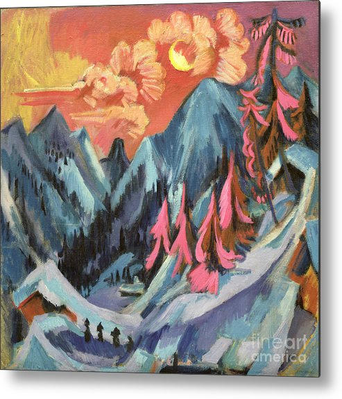 Winter Metal Print featuring the painting Winter Landscape In Moonlight by Ernst Ludwig Kirchner