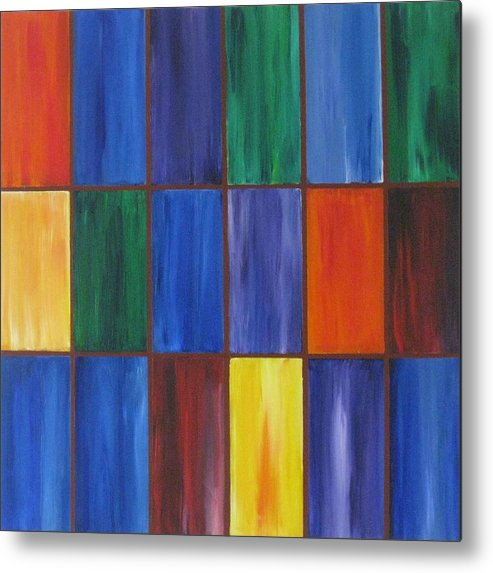 Rectangles Metal Print featuring the painting wRectangles by Deborah Schuster