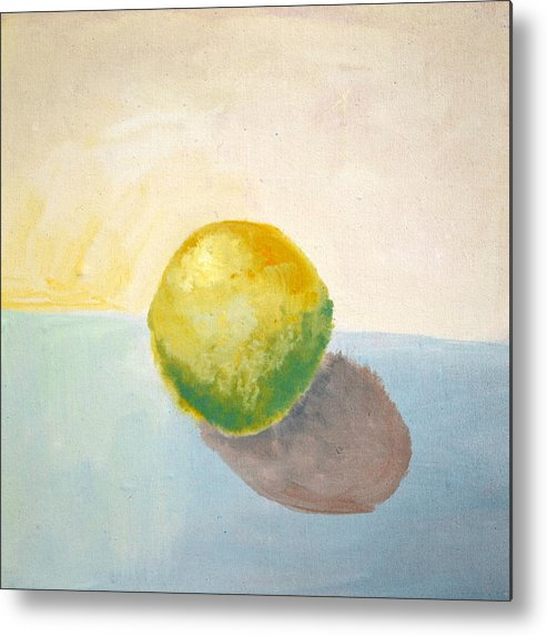Lemon Metal Print featuring the painting Yellow Lemon Still Life by Michelle Calkins