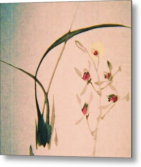 Asian Ink Brush Metal Print featuring the painting Grass And Buds by JuneFelicia Bennett