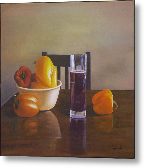 Still Life Metal Print featuring the painting Peppers On Table by Srilata Ranganathan