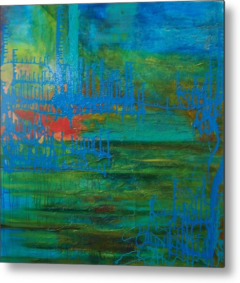 Contemporary Sea Lanscape Metal Print featuring the print Sea Ligthts by Meltem Quinlan