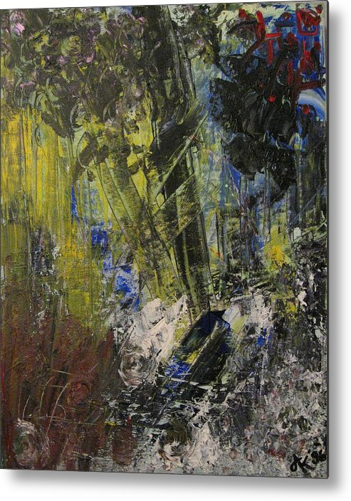 Metal Print featuring the painting Alluding To Anger by Andrea Noel Kroenig