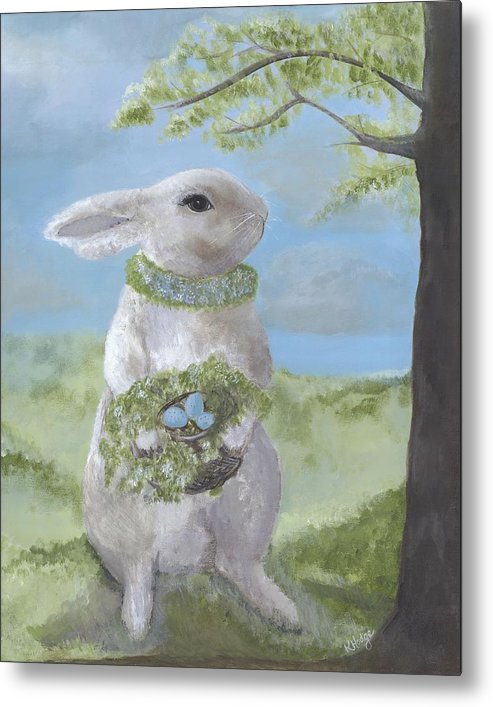 Bunny Metal Print featuring the painting Basil Bunny by Kimberly Hodge