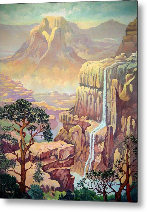 Mountains Waterfall Rocks Arizona New Mexico Southewest Landscape Metal Print featuring the painting Hidden Southwest Geology by Donn Kay