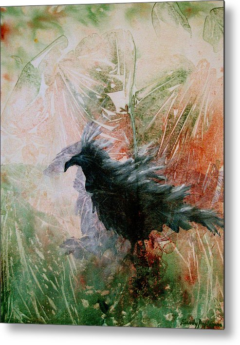 Raven Metal Print featuring the painting The Raven Sitting Lonely by Sandy Applegate