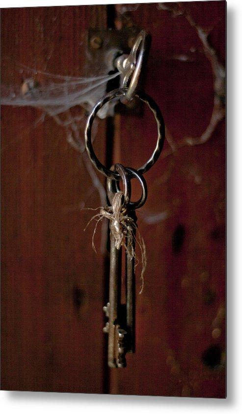 Abstract Metal Print featuring the photograph Three Keys by Georgia Fowler