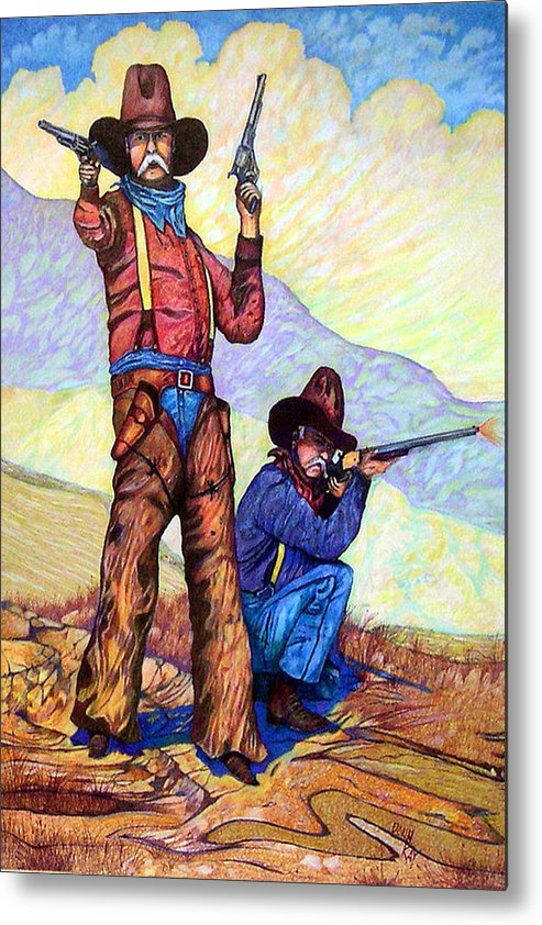 Western Art Cowboys Metal Print featuring the drawing Bushwacked At The Arroyo by Donn Kay