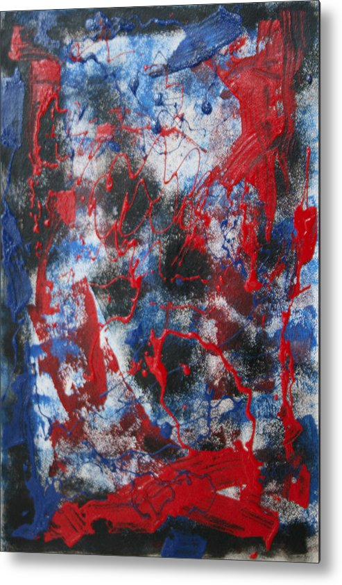 Abstract Metal Print featuring the painting Chaos by Mordecai Colodner