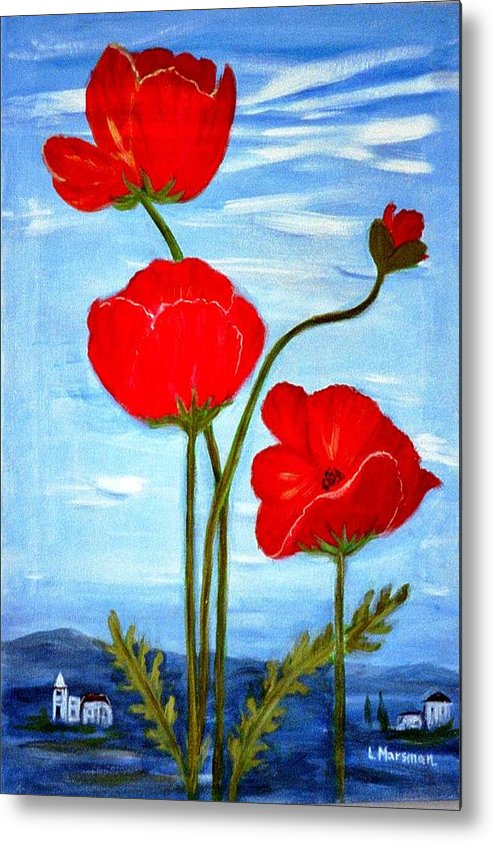 Flowers Metal Print featuring the painting Tuscan Poppies by Lia Marsman