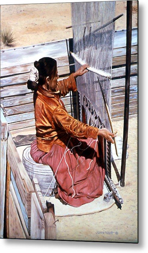 Navajo Indian Southwestern Monument Valley Weaving Metal Print featuring the painting Weaver's Tale by John Watt