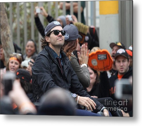 Sport Metal Print featuring the photograph 2012 San Francisco Giants World Series Champions Parade - Barry Zito - Img8206 by Wingsdomain Art and Photography