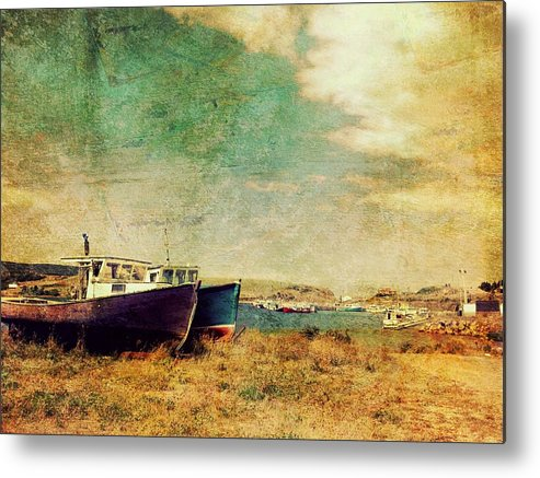 Grunge Metal Print featuring the photograph Boat Dreams On A Hill by Tracy Munson