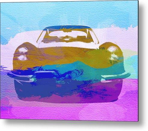 Jaguar E Type Metal Print featuring the painting Jaguar E Type Front by Naxart Studio
