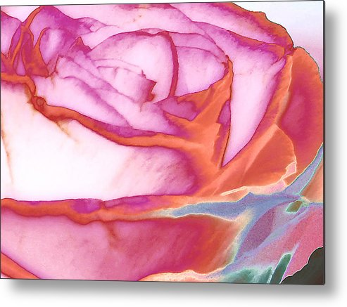 Rose Metal Print featuring the digital art Love Story - Early Days by Wendy J St Christopher