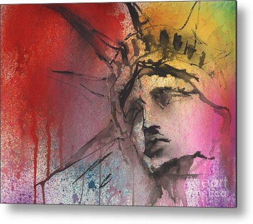 Statue Of Liberty Art Metal Print featuring the painting Statue Of Liberty New York Painting by Svetlana Novikova