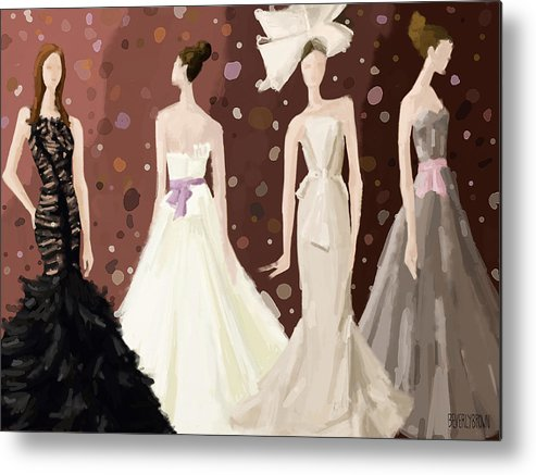 Fashion Metal Print featuring the painting Vera Wang Bridal Dresses Fashion Illustration Art Print by Beverly Brown