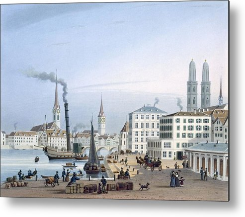 Swiss Metal Print featuring the drawing Zurich by Swiss School