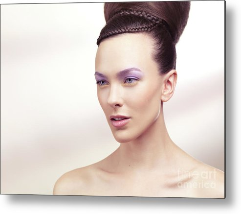 Beauty Metal Print featuring the photograph Beautiful Young Woman Portrait by Oleksiy Maksymenko