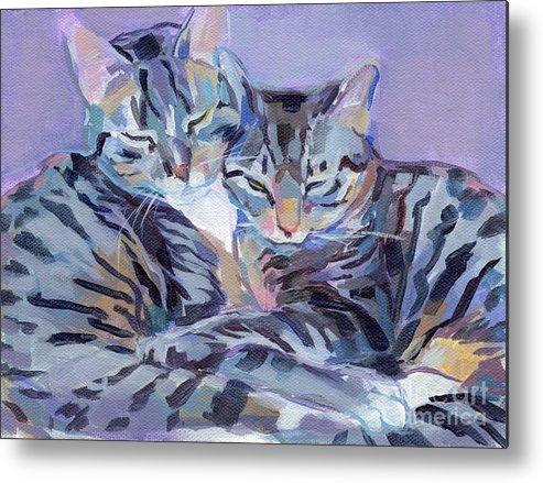 Kitty Metal Print featuring the painting Hugs Purrs And Stripes by Kimberly Santini