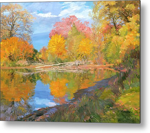 Fall Trees Metal Print featuring the painting Mayslake At Fall by Judith Barath