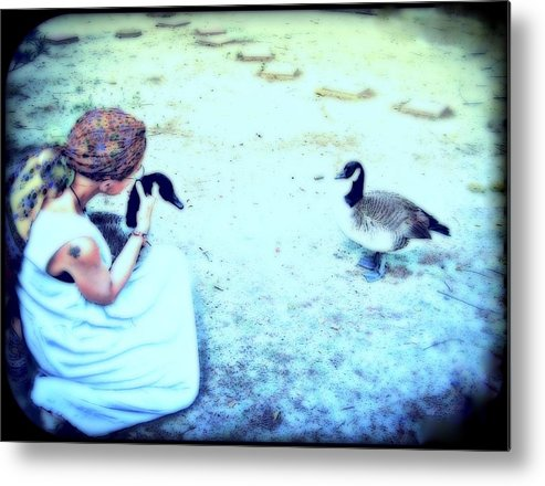 Canada Geese Metal Print featuring the mixed media Mother And Geese by YoMamaBird Rhonda