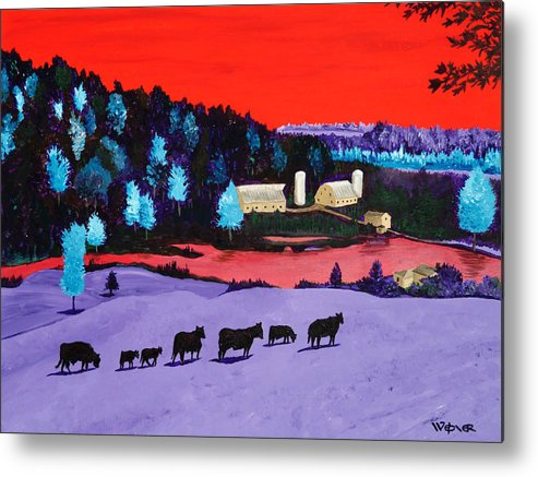 Landscape Metal Print featuring the painting Pastures And Pond by Randall Weidner