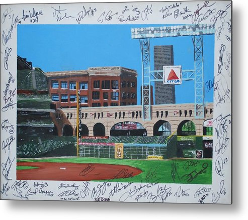 Autographed Metal Print featuring the painting Signed Minute Maid by Leo Artist