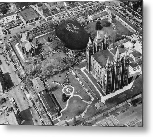 1940s Candid Metal Print featuring the photograph The Mormon Tabernacle, In Salt Lake by Everett