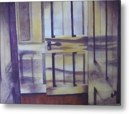 indoor Still Life Metal Print featuring the painting When One Door Closes by Patsy Sharpe
