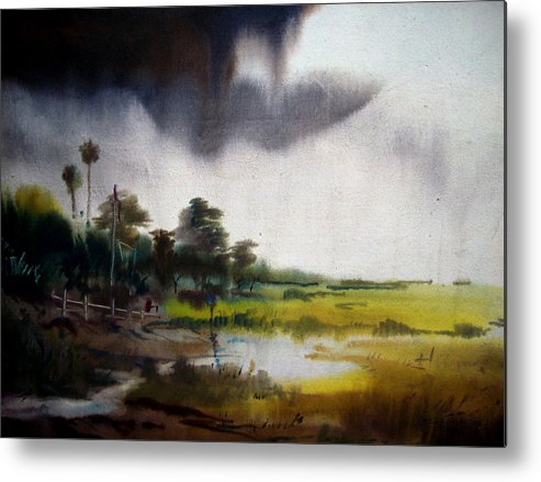 Village Metal Print featuring the painting Monsoon Village by Samiran Sarkar