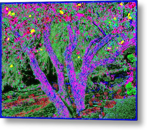 Abstract Landscape Metal Print featuring the painting 007h Abstract Arcadia Tree by Ed Immar