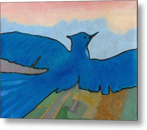 Bird Metal Print featuring the painting Blue Bird 1 by Robert Bissett