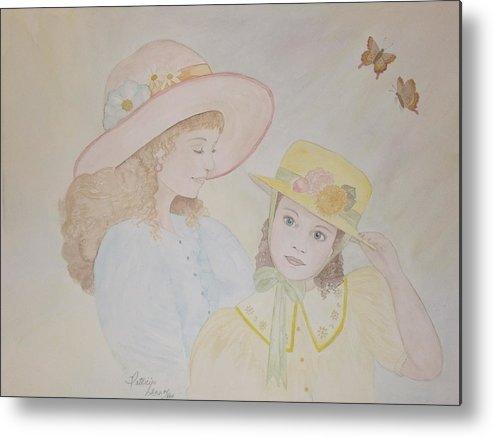 Girls Metal Print featuring the painting Prairie Sun Hats by Patti Lennox