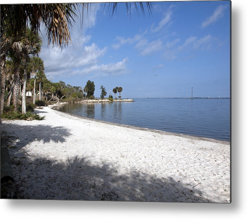 Castaway Metal Print featuring the photograph Castaway Point On The Indian River Lagoon With Coquina Rock by Allan Hughes