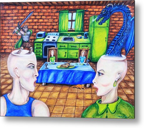 Dragons Medieval Surreal Fantasy Metal Print featuring the drawing A Royal Dispute by Michael Cook