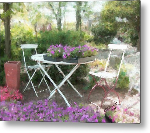 Country Rural Flower Summer Tea Painting Teatime Garden Shade Friends Sargent Oil Table Metal Print featuring the painting A Spot For Tea by Eddie Durrett