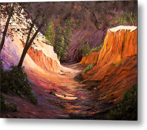A Painting A Day Metal Print featuring the painting A Walk Through The Canyon by Connie Tom