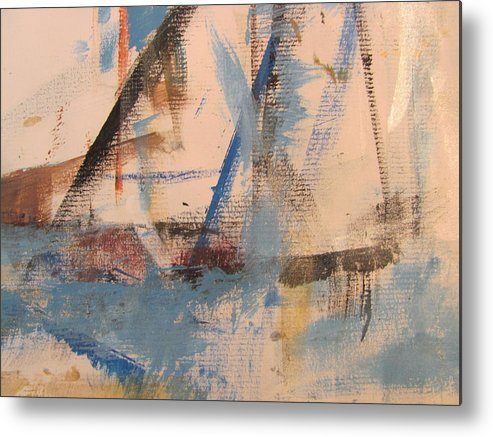 Abstract Metal Print featuring the painting Abstract At Sea 1 by Anita Burgermeister
