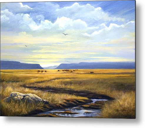 Landscape Metal Print featuring the painting After A Hard Rain by Brooke Lyman