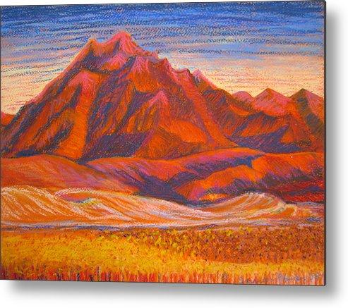 Arizona Metal Print featuring the painting Arizona Mountains At Sunset by Art Nomad Sandra Hansen