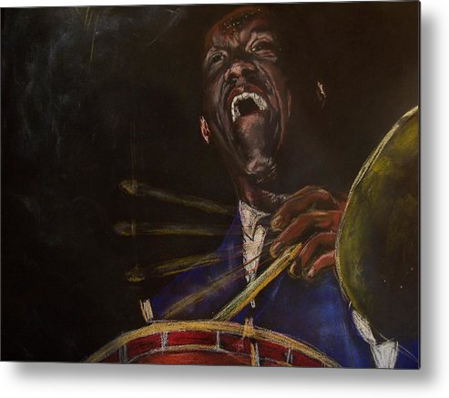 Jazz Metal Print featuring the drawing Art Blakey Jazz Messenger by Darryl Hines