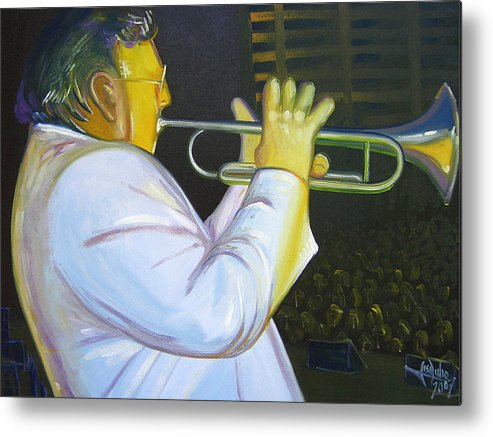 Oil Canvas Painting Modern Colorfull Impresionism Portray Jose Julio Metal Print featuring the painting Arturo by Jose Julio Perez